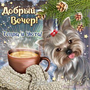 Вечернего тепла и уюта открытка романтика кофе милый песик